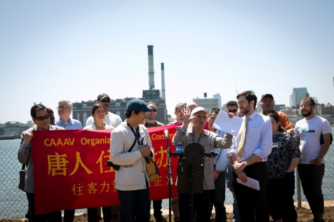 CAAAV member Fu Ko Poon speaks at the Waterfront Community Day press conference - photo by Whitney Browne