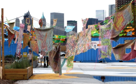 Social Dress LES - Material Memories pieces installed on Pier 42